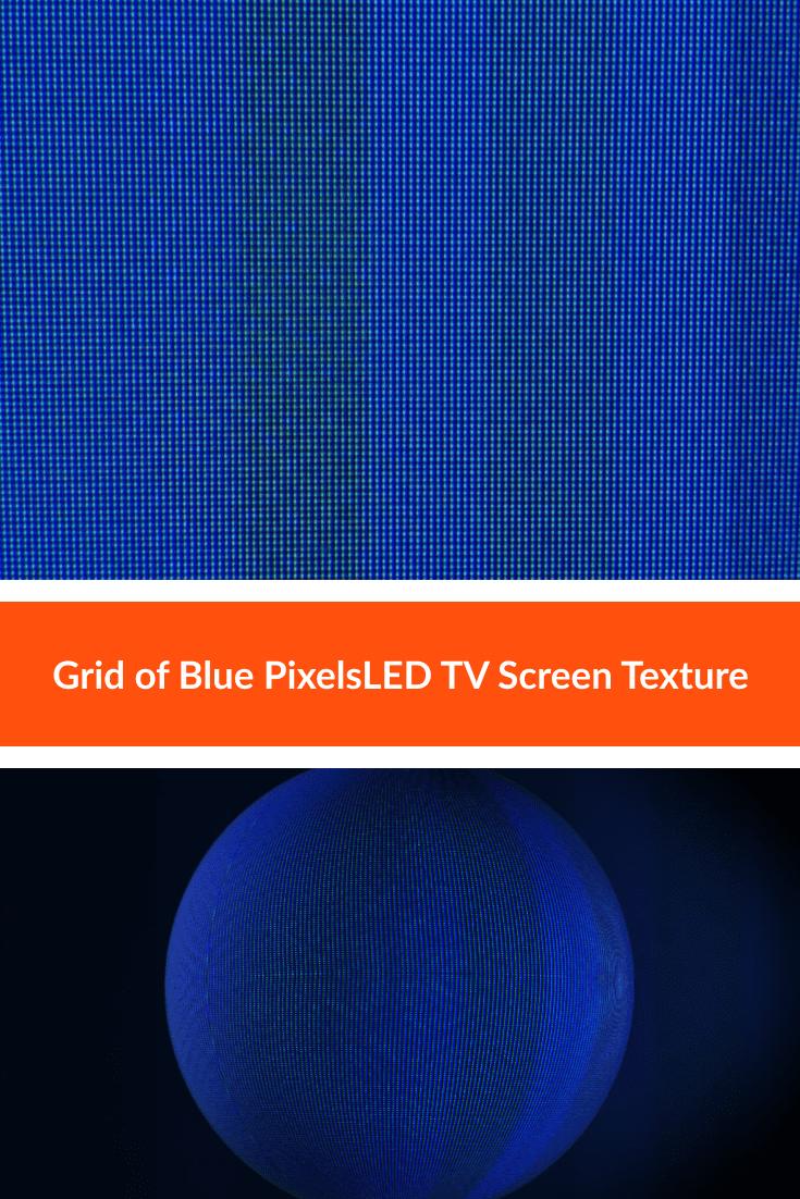 Grid of Blue Pixels LED TV Screen Texture.