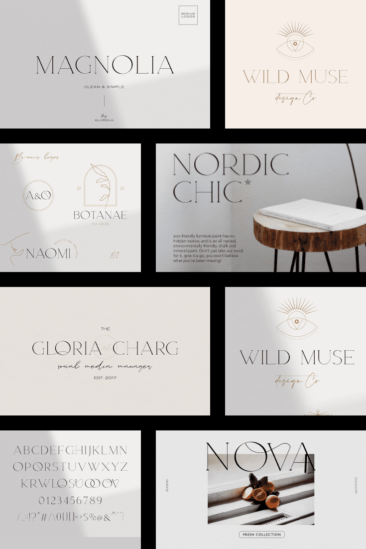This typeface is reminiscent of the Scandinavian style with its high cost and sophistication.