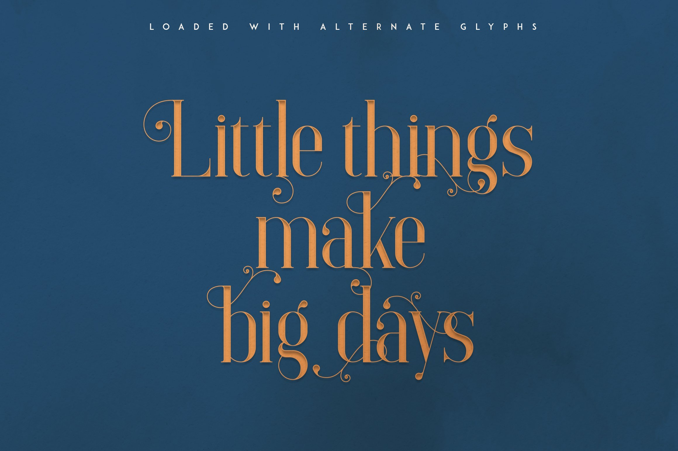 The orange font on a blue background creates a unique atmosphere of magic and fairy tale.Elysian - Serif Font.