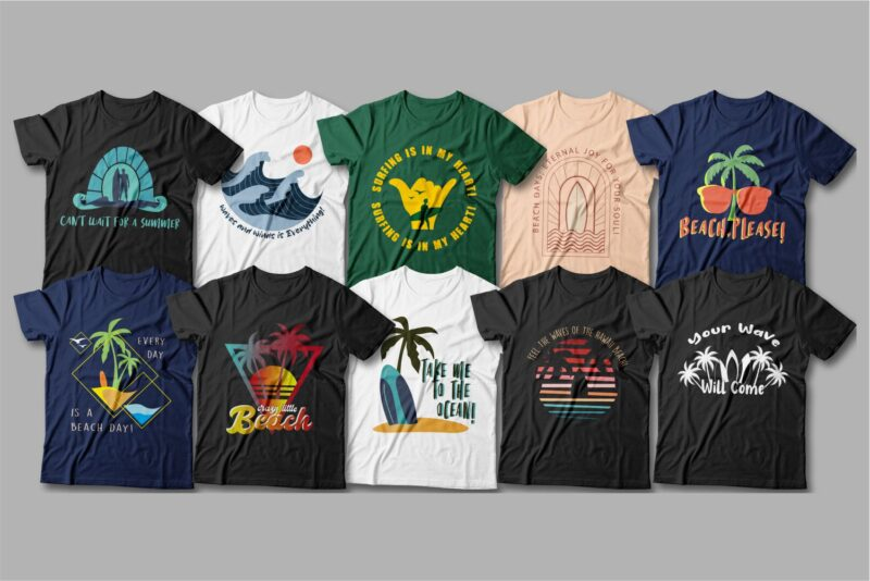 T-shirts in different colors with surf attributes.