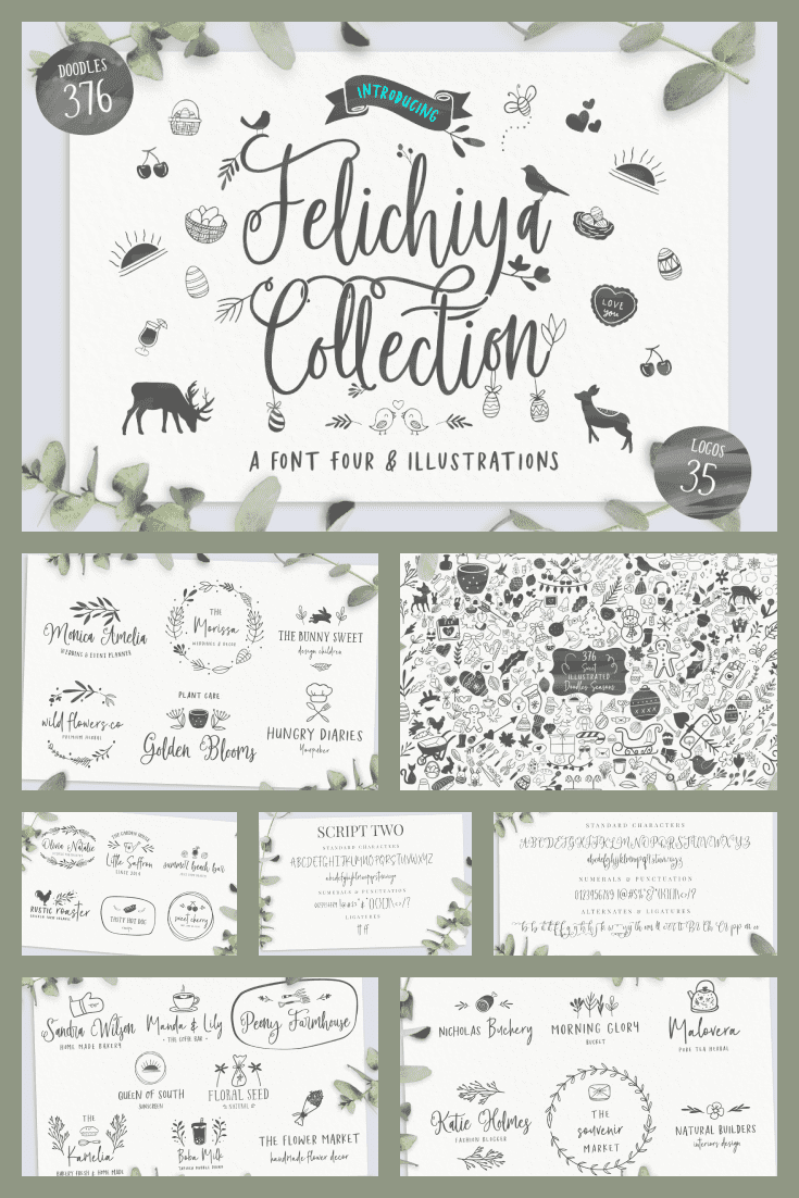 A festive font with many graphic elements. It will be a great decoration for any label or banner.