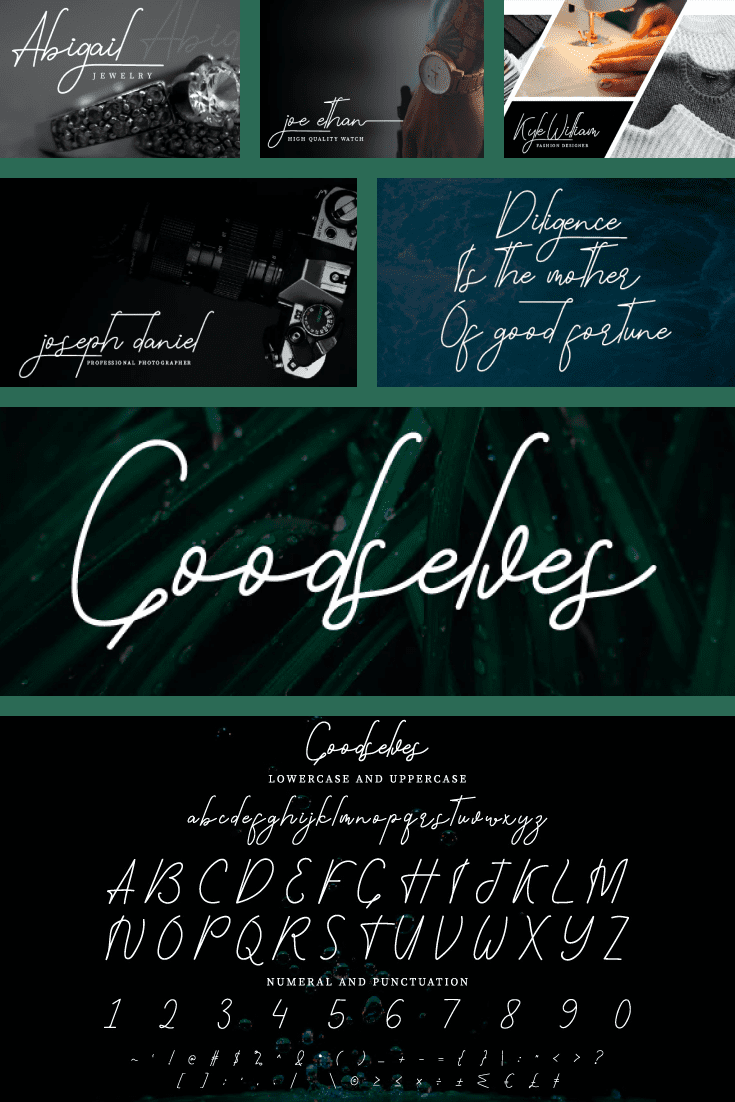 An inspirational template in deep green. The font is crisp, delicate and aesthetically beautiful.