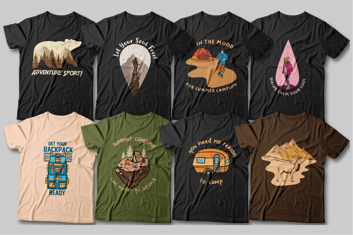 Everyone has their own associations with nature and hiking. These T-shirts reveal the most popular associative range on this topic.