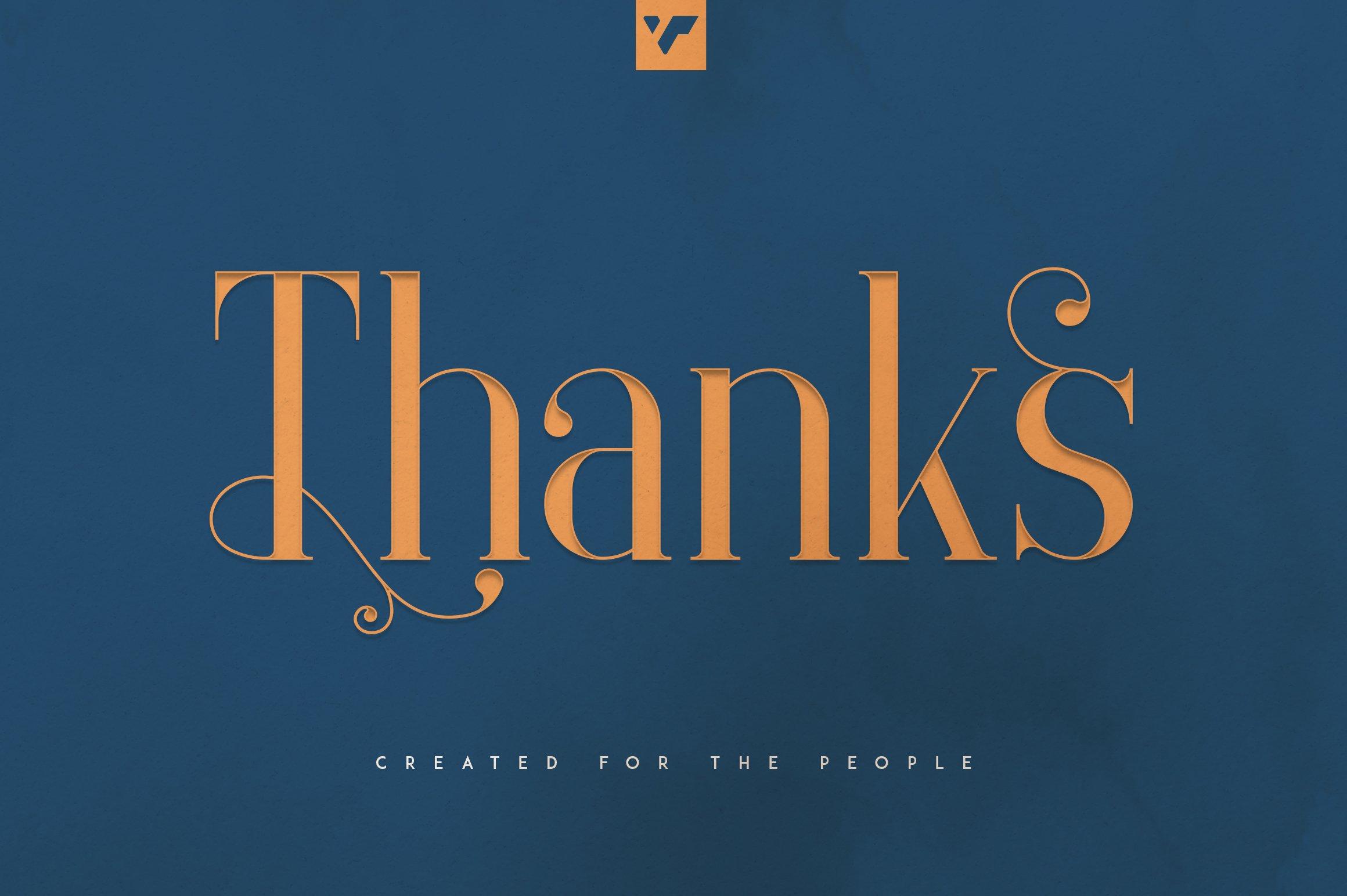 Last slide with a font. Elysian - Serif Font.