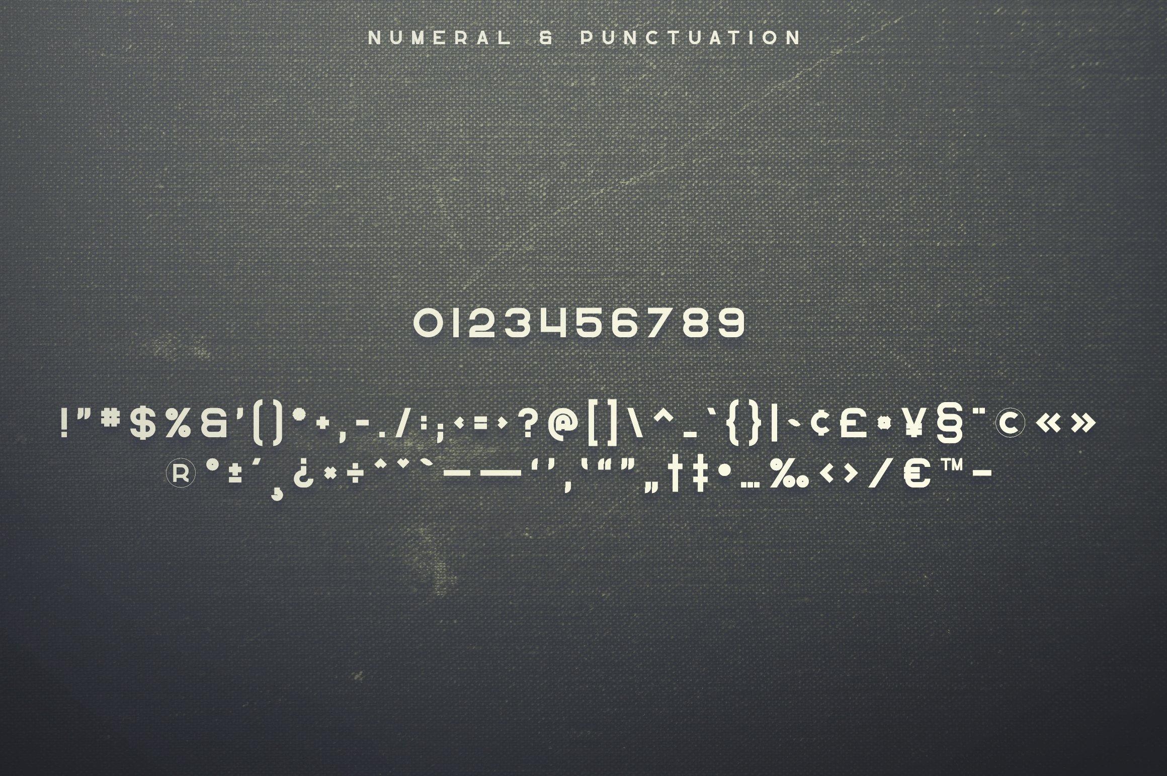 Number format of font. Greenth Display   Latin & Cyrillic Font.