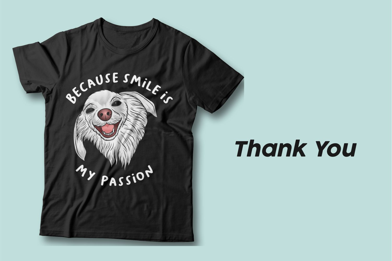 The gray eared dog says smiles to us from a black T-shirt.