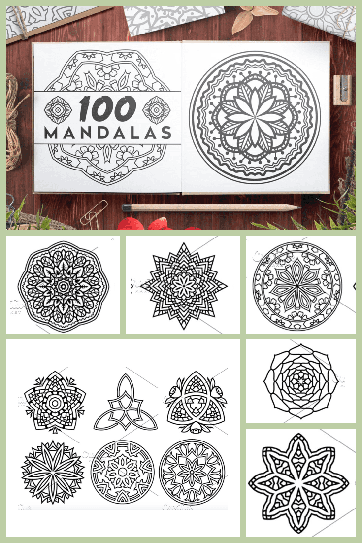 Black and white mandala with fine traced lines and a graceful overall look.