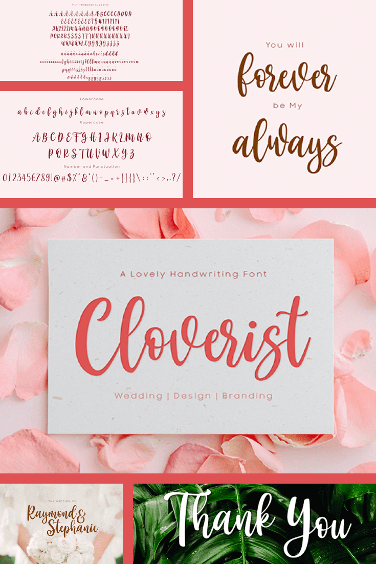 Romantic font on a gentle pink background. It can be in different colors and can be used for different purposes.