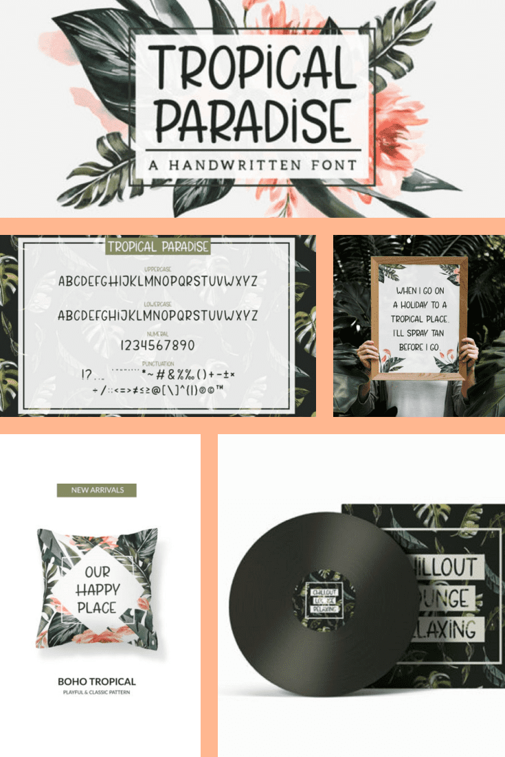 A tropical font with jungle elements and versatility.