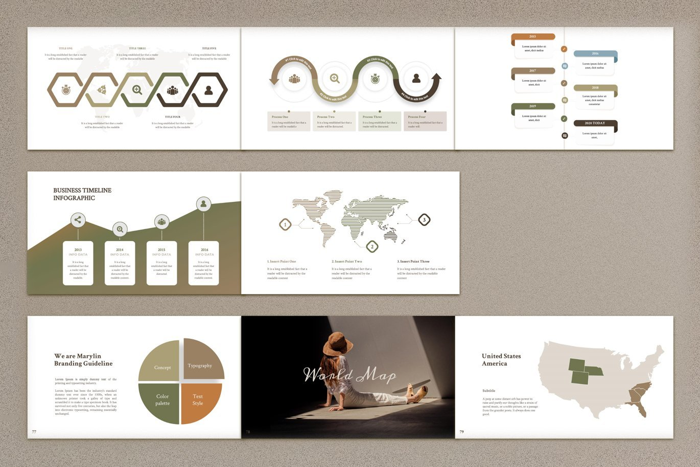 This template includes modern and stylish infographics which give you a chance to convey information to the audience in the simplest way.