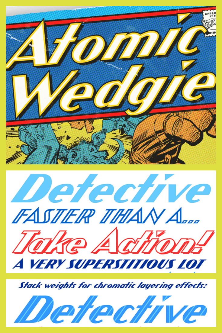 If a superhero could, he would use this font for his logo. This font is comic. It is bright and original.