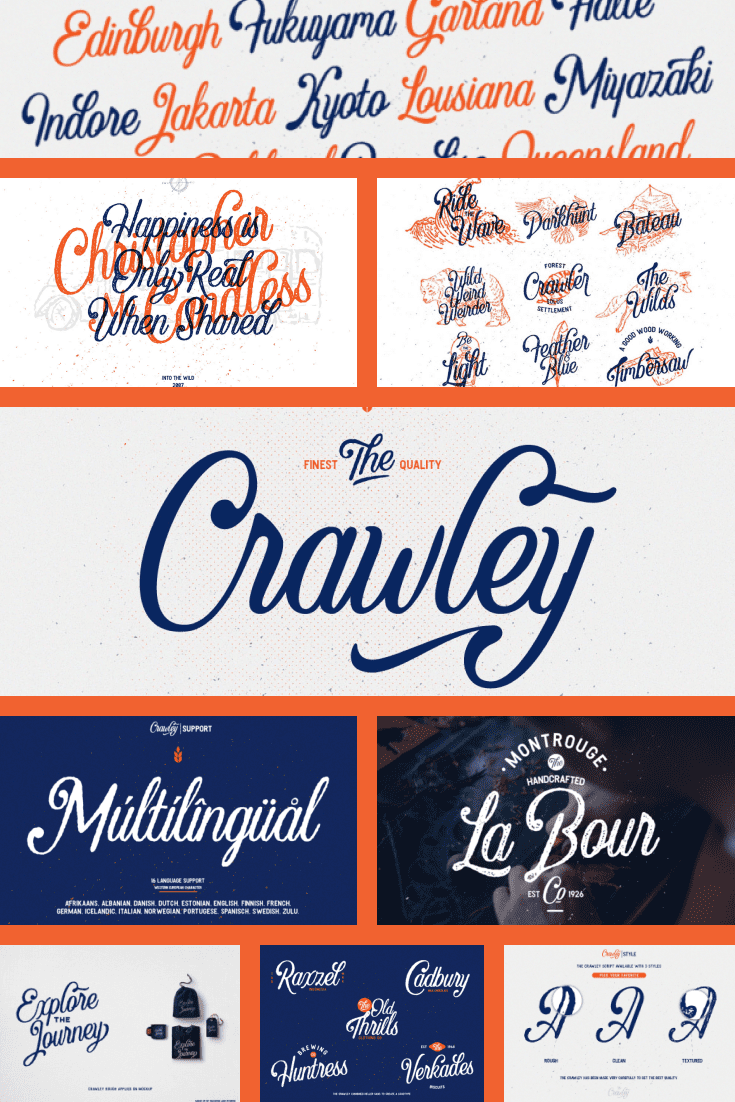 Bright font in its execution. It is available in three colors - orange, white and blue.