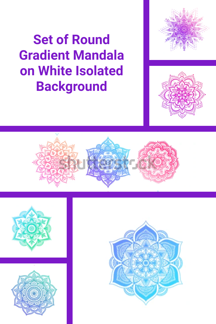 Colored mandala of different shapes.