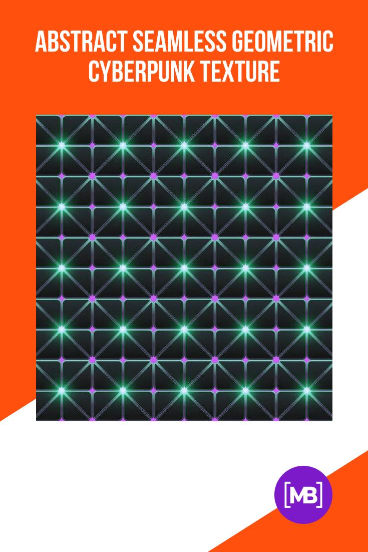 Abstract Seamless Geometric Cyberpunk Texture.
