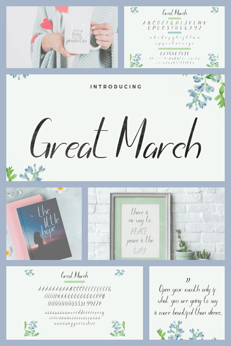 A font with spring notes and drops of morning dew. It is lightweight and versatile.
