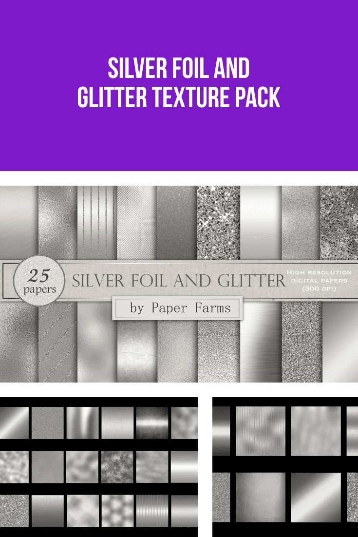 Silver foil and glitter texture pack.