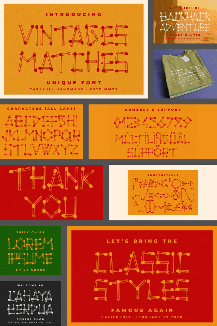 An original font, each corner of which is created from matches.