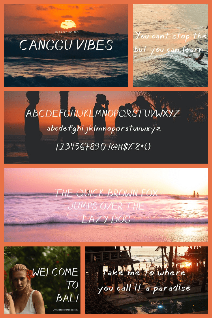Unforgettable Balinese sunsets, the sound of the ocean and mopeds. This font is about Bali and golden tan.