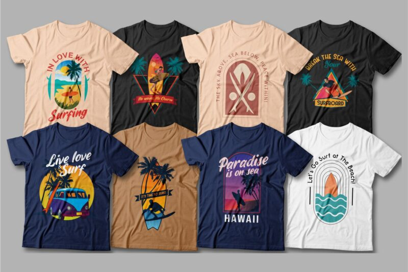 Crew-neck T-shirts with sunsets and surf designs.