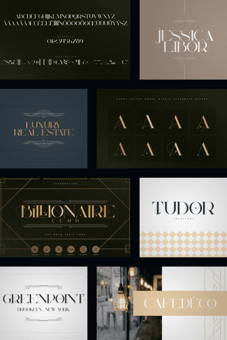 This font has come from the Gatsby era. Came to us from rich shop windows and casinos.