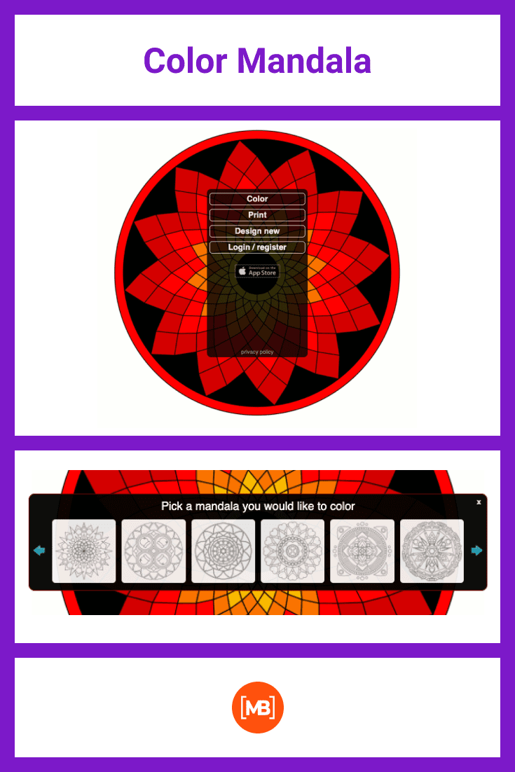 This is an incredible opportunity to create mandala and color it in your mood.