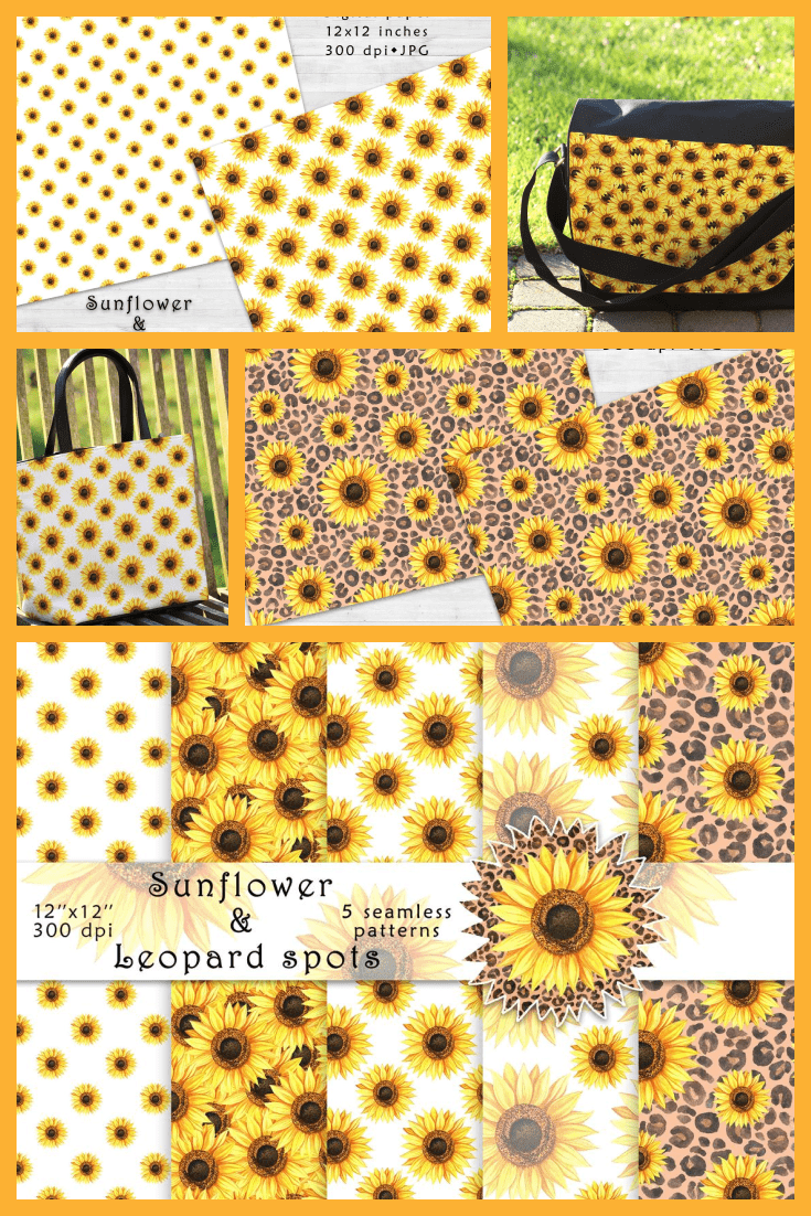 Sunflower and leopard spots patterns, sunflower digital paper pack, watercolor style seamless patterns.