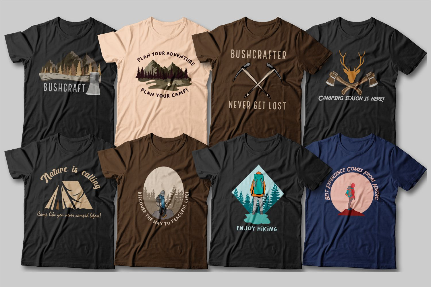 Dark T-shirts with mountains, bonfires and hikes.