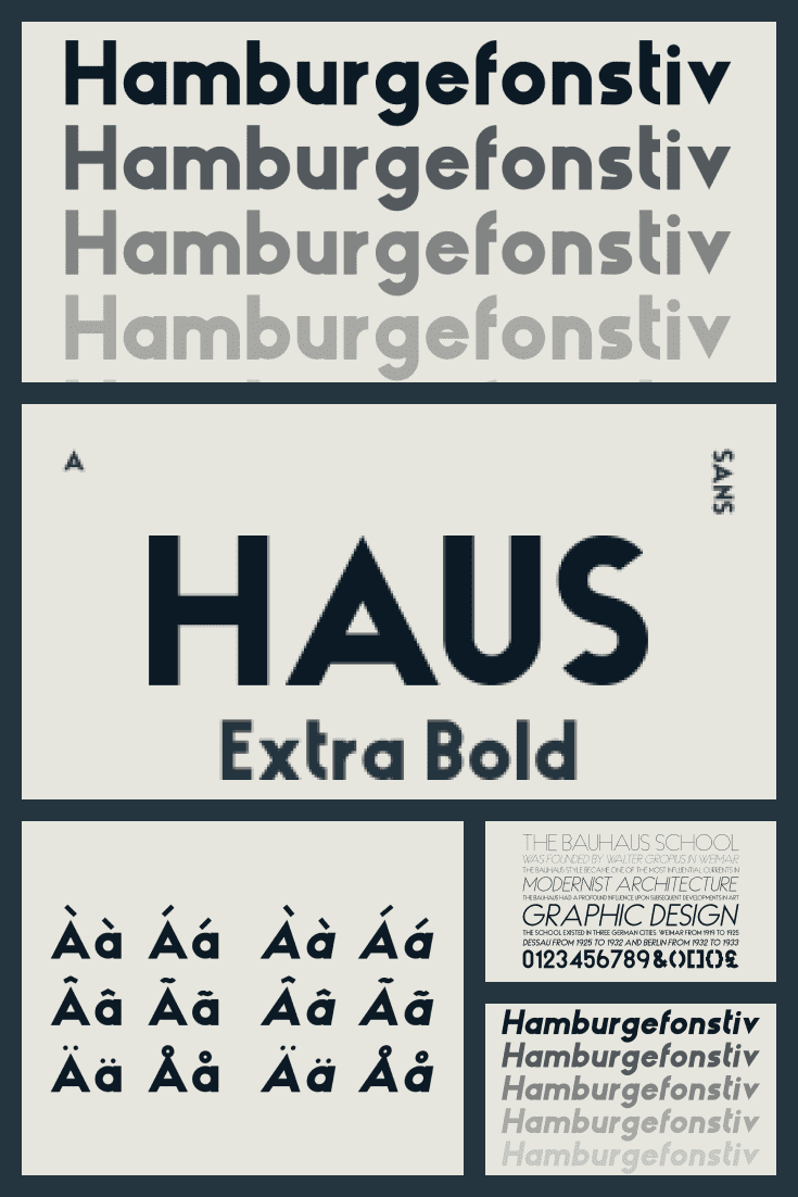 A typeface with cultural influences from Germany. Austere lines and simplicity of color underline its functionalism.