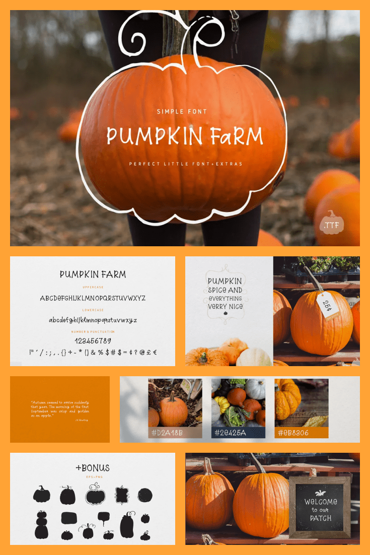 This is a pure pumpkin font. It will be a good choice for fall party or halloween.