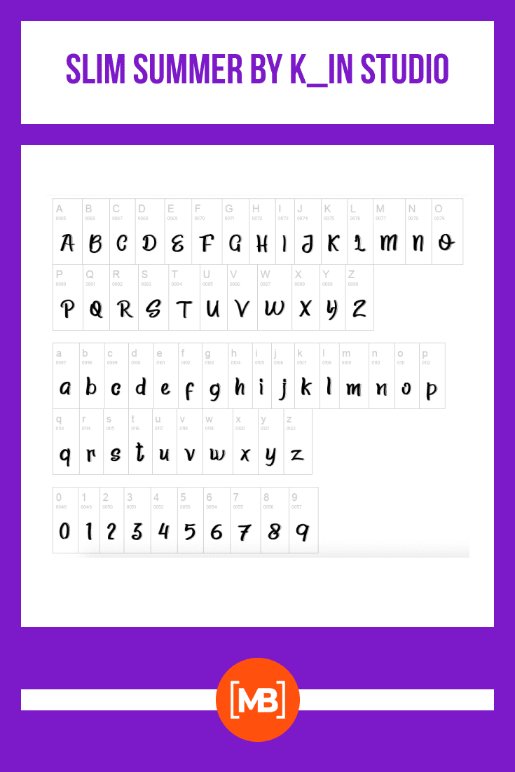 Stylish font. It is presented in a typical table with a full display of all use cases.