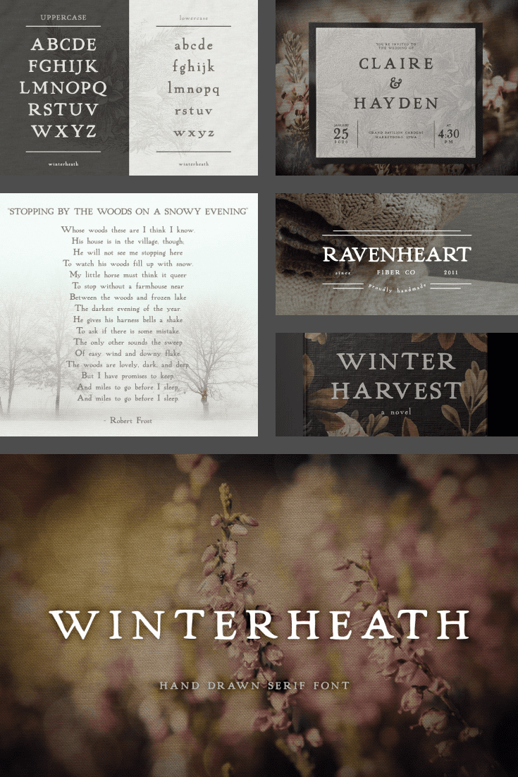 This font draws a little coolness, dry leaves and delicious jam.