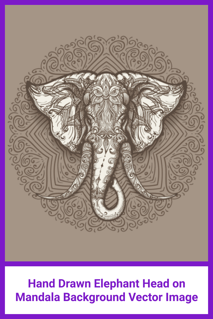 An elephant is drawn in brown on a mandala background.
