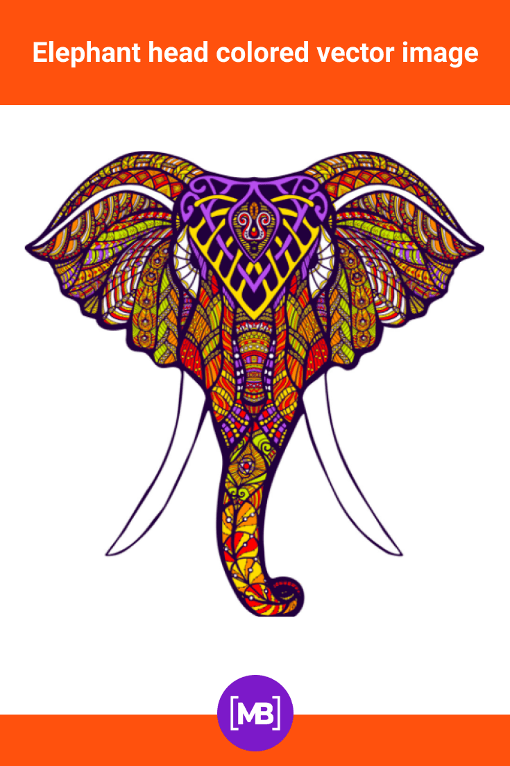 Colored elephant, which is painted with mandala elements.