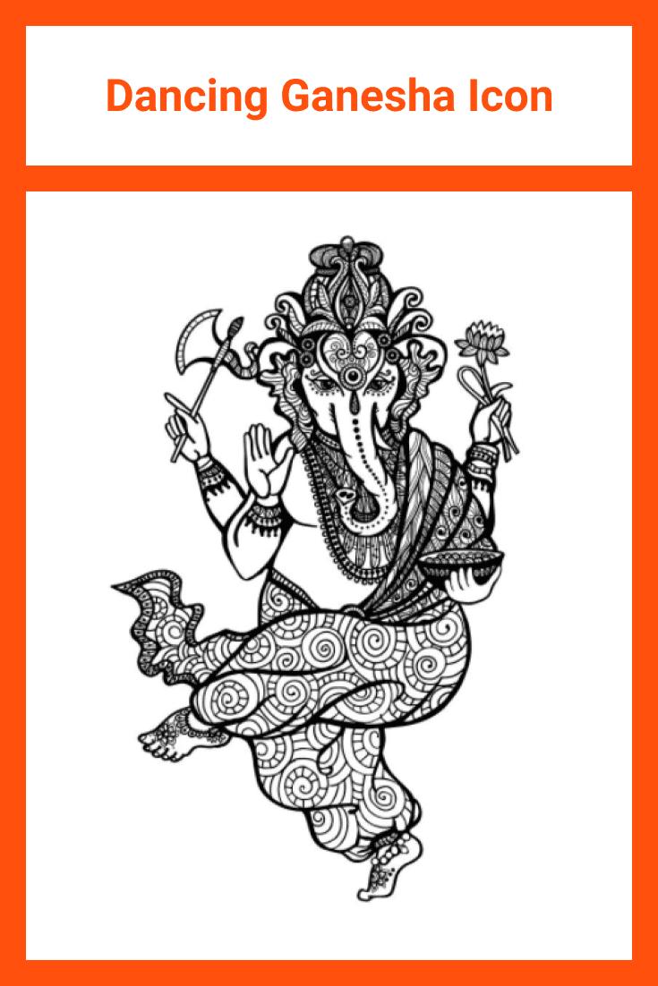 Dancing black and white elephant, painted with sacred mandala elements.