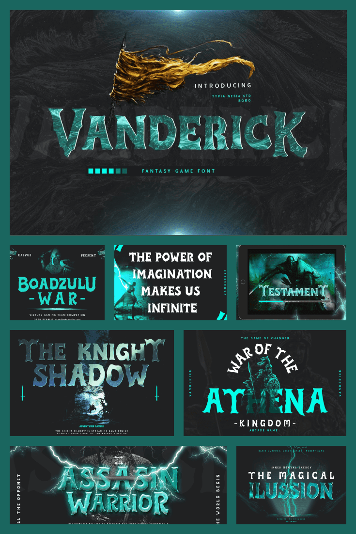 The font that came out of the screens of the fantasy movie. If adapted correctly, it can be used in any genre.