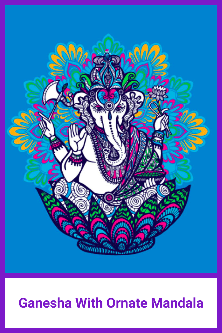 Very vivid drawing. Reminiscent of a talisman. Elephant born from lotus, decorated with mandala flowers.