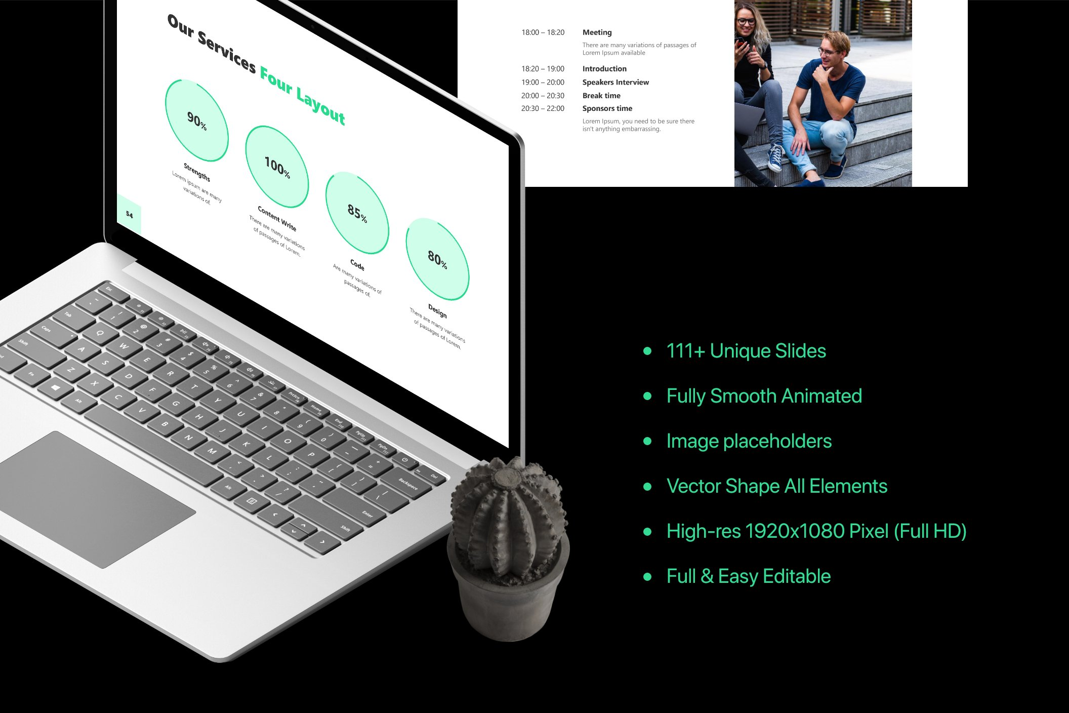 Black background and green accents - highlight, font, infographics.
