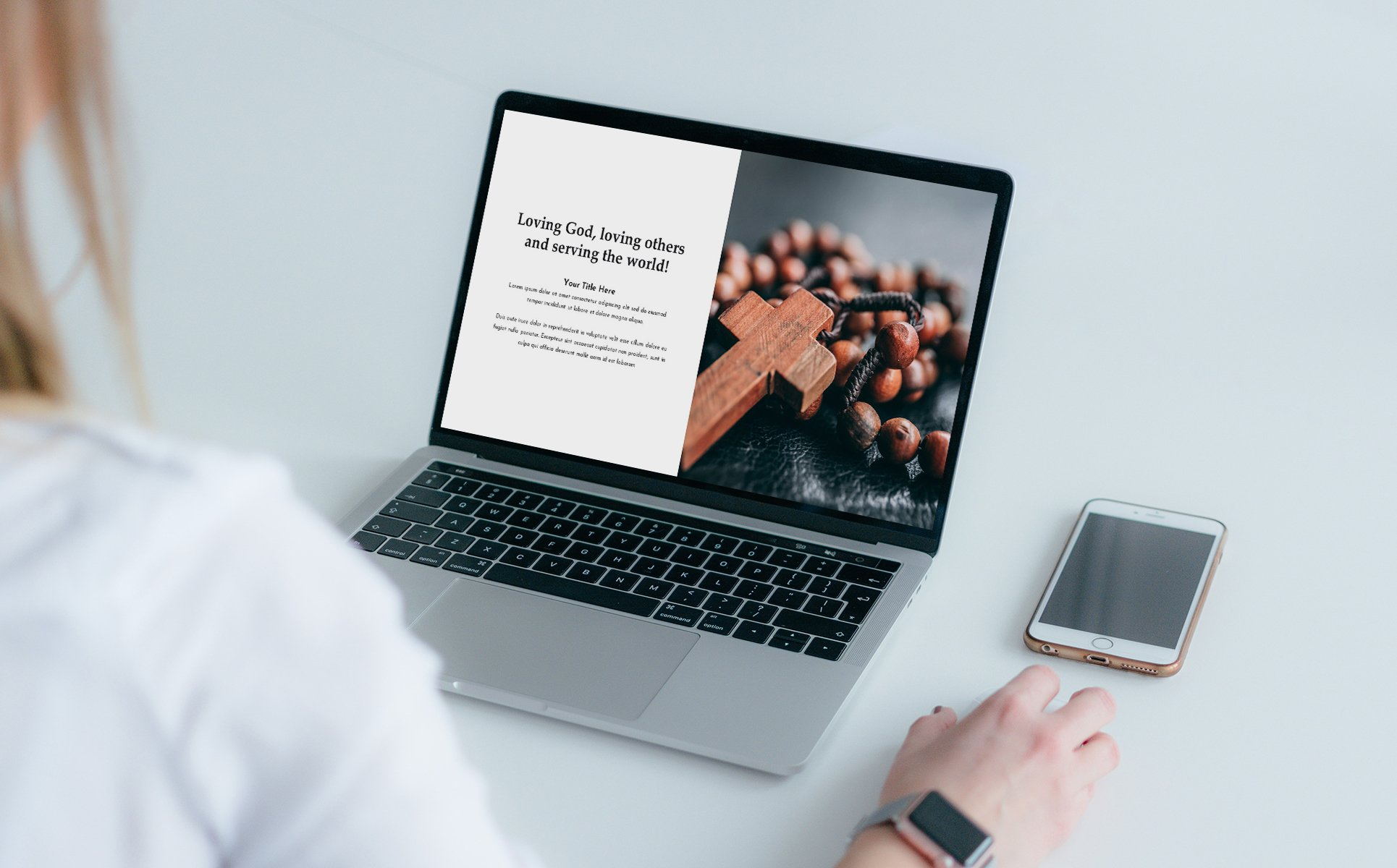 Laptop with presentation. Worship Presentation Template.