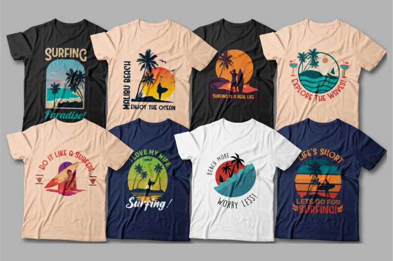 Bright, beautiful t-shirts with surfs and sunsets, which are suitable for any time of the year.