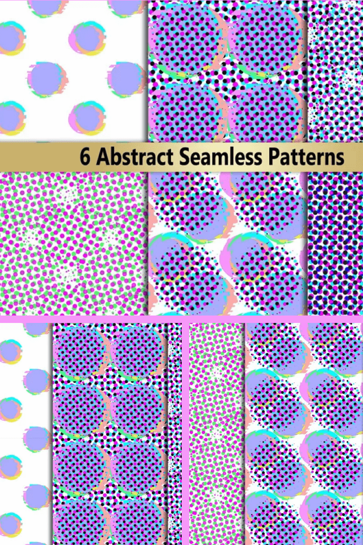 Glitch noise distortion and halftone seamless patterns set.