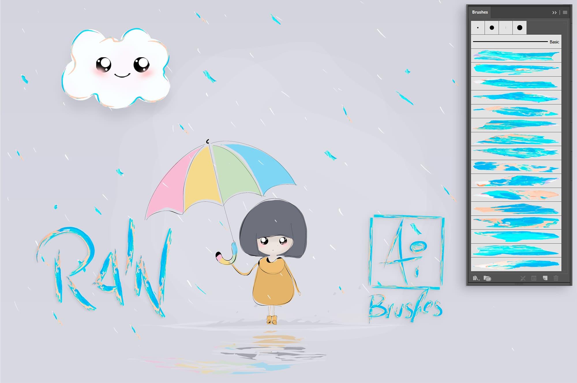 Girl in the rain with a colored umbrella.