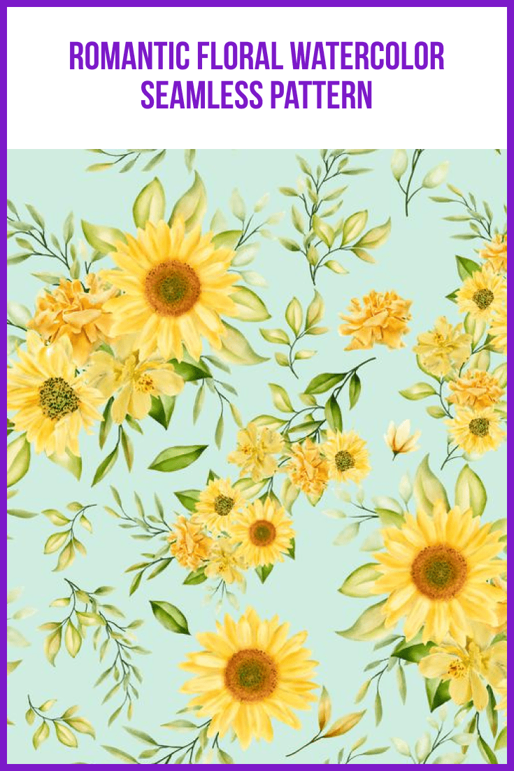 Sky blue background and bright yellow sunflowers on it.
