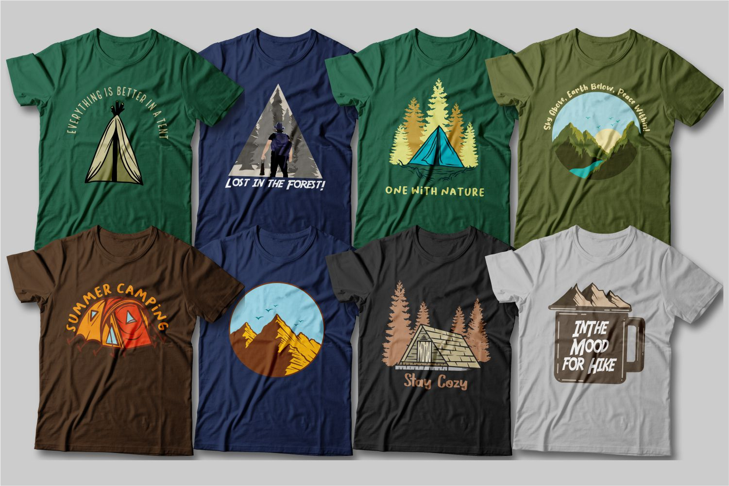 T-shirts of a classic cut, light colors with the image of mountains and tent cities.