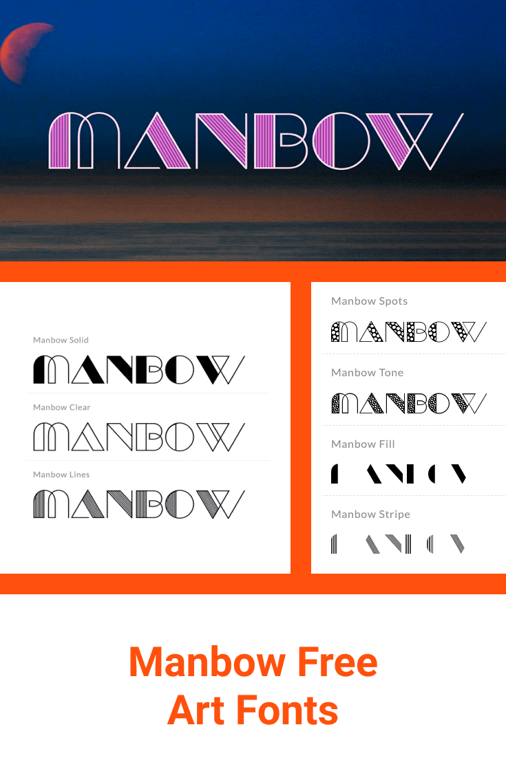 A very original font. There are four options for displaying it and each has its own flavor.