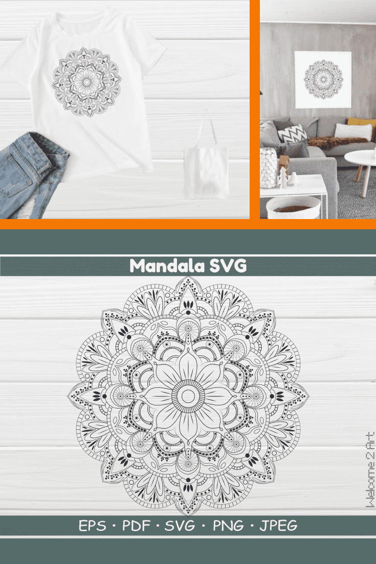 Gray mandala with drawings of flowers and dots. Looks smart and festive.