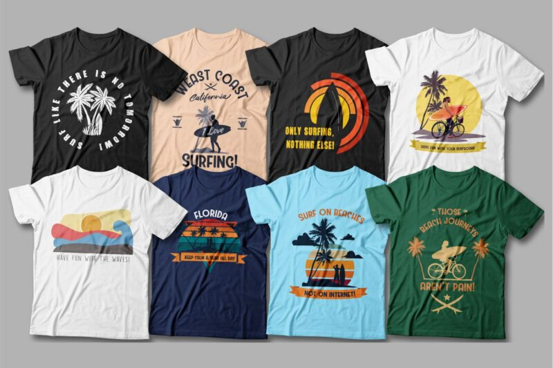 T-shirts in delicate pastel colors with interesting surf graphics.