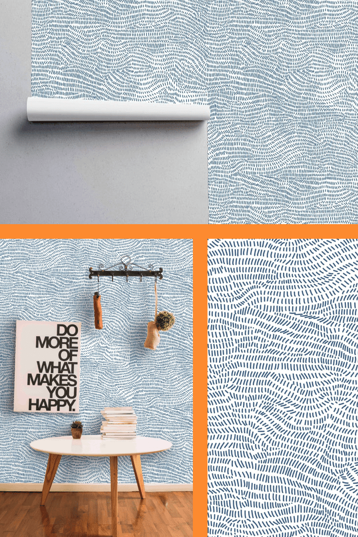 Blue Shapes Wallcovering - Fabric Peel and Stick and Pre-Pasted Paper Wall Cover by Green Planet.