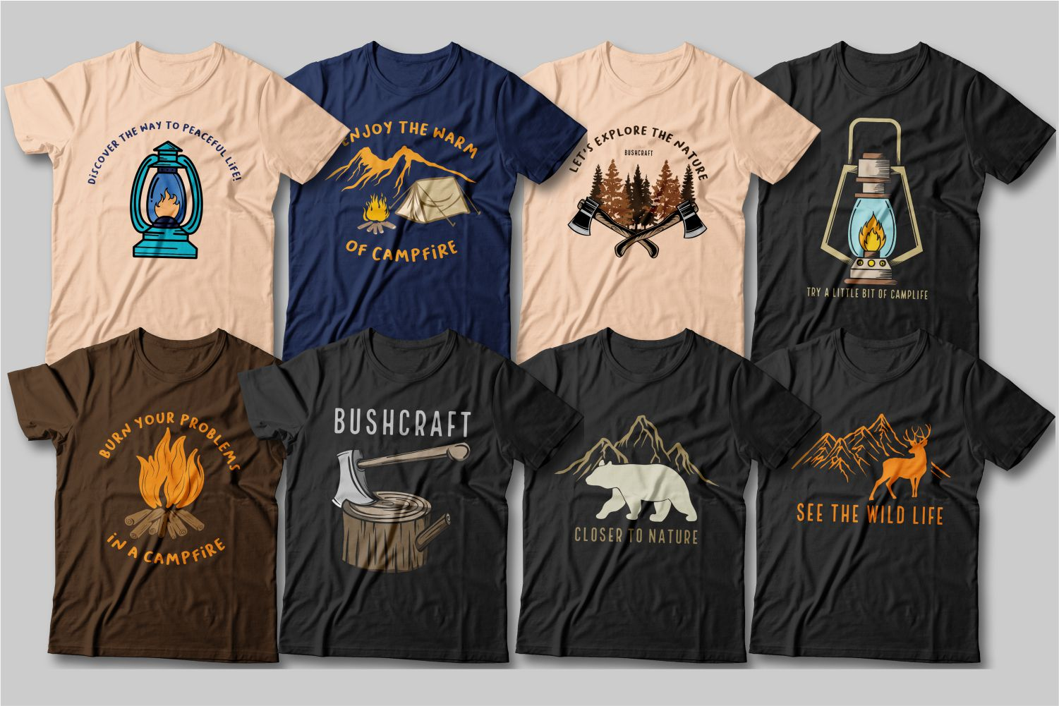 Various T-shirts for outdoor enthusiasts with a picture of a campfire and accessories for a hike.