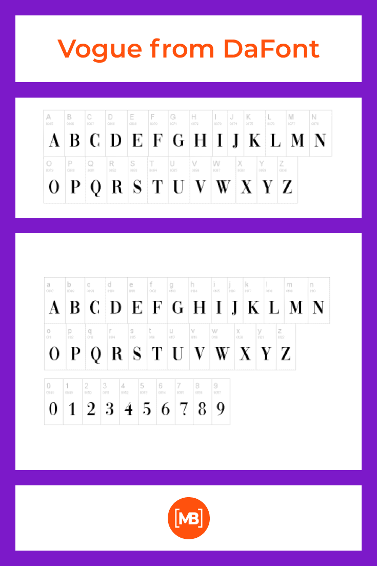 The font is presented in the form of an alphabet in which you can see each letter.
