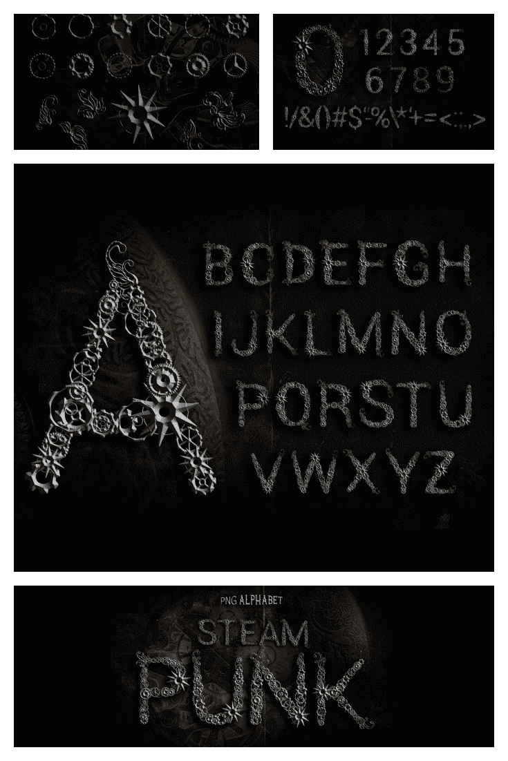 Gothic font in dark color and with thematic attributes.